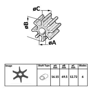 Impeller for Mercury Mariner Yamaha 2 Stroke Outboard Engines - 326