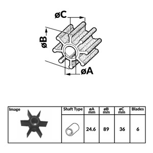 Impeller for Yamaha Mariner 4 Stroke Outboard Engines - 500389N