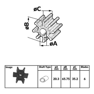 Impeller for Tohatsu 2 Stroke Outboard Engines - 388