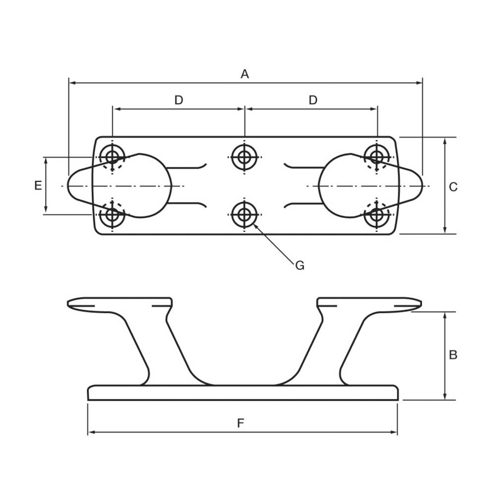 Aluminium Bollard Cleat Raked 200mm