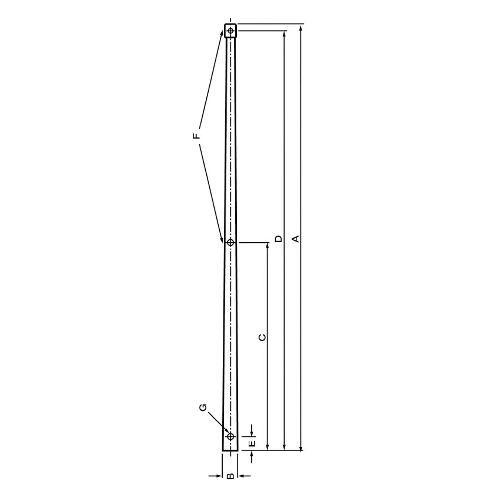 Aluminium Stanchion 25mm x 500mm