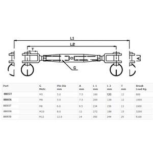 Stainless Steel Rigging Screw  - Fork/Fork
