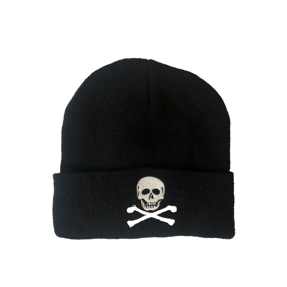 Embroidered Beanie Hat • Skull & Crossbones
