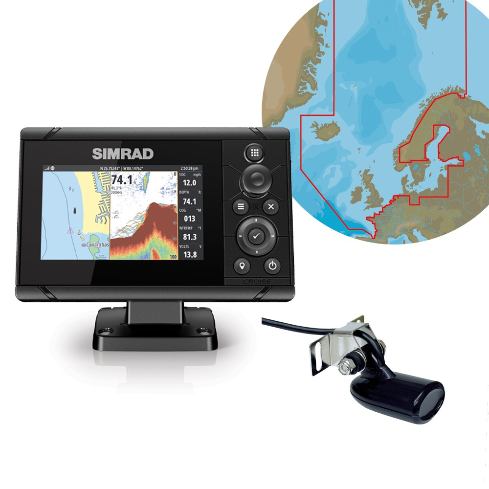 Cruise 5 Chartplotter & Fishfinder with C-Map Max-N+ Northern & Central Europe Chart