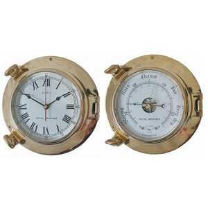 Large Porthole Clock & Barometer Set Brass 6""
