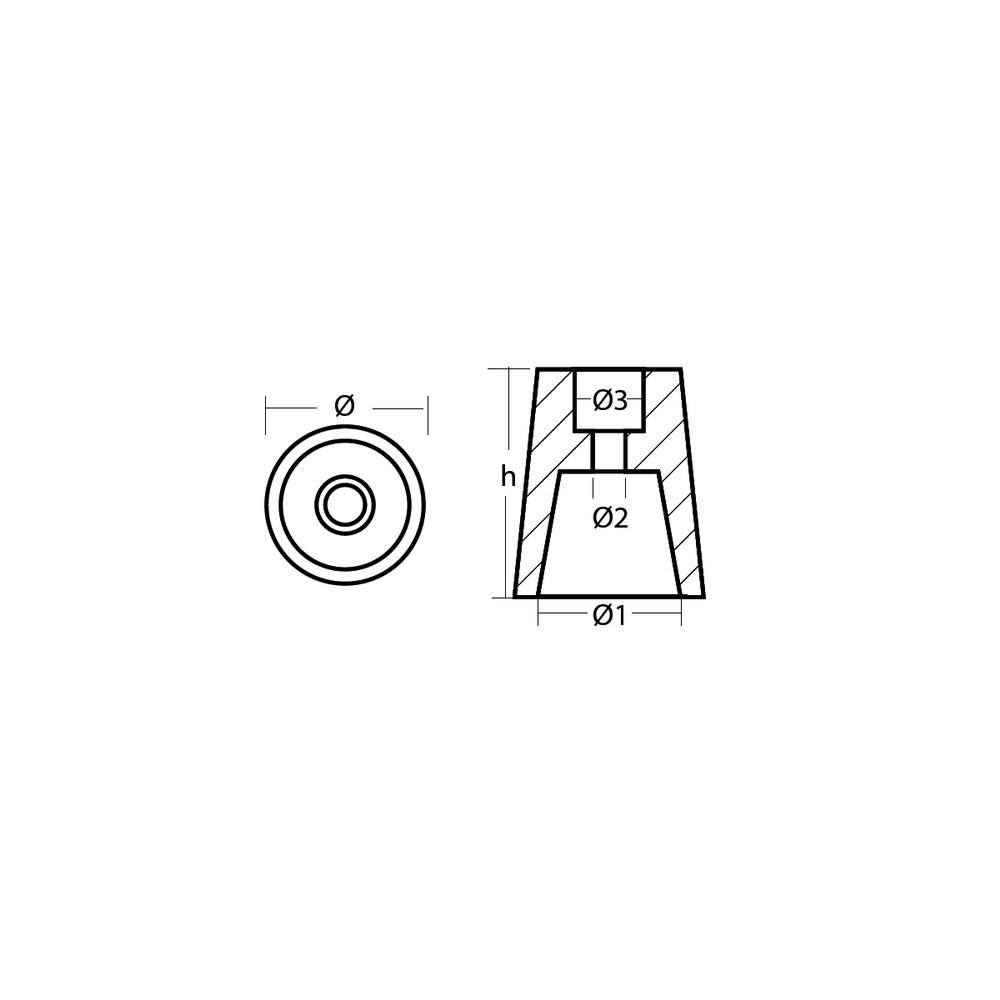 Prop Cone Anode 22-25mm - Magnesium