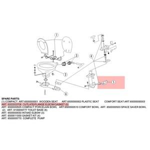 Manual Sea Toilet - Outlet/Flange Elbow/Check Valve