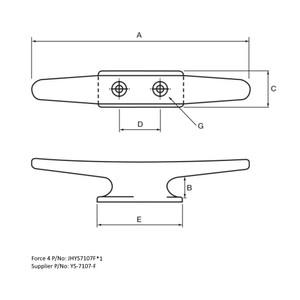 Mast/Deck Cleat M10 x 253mm