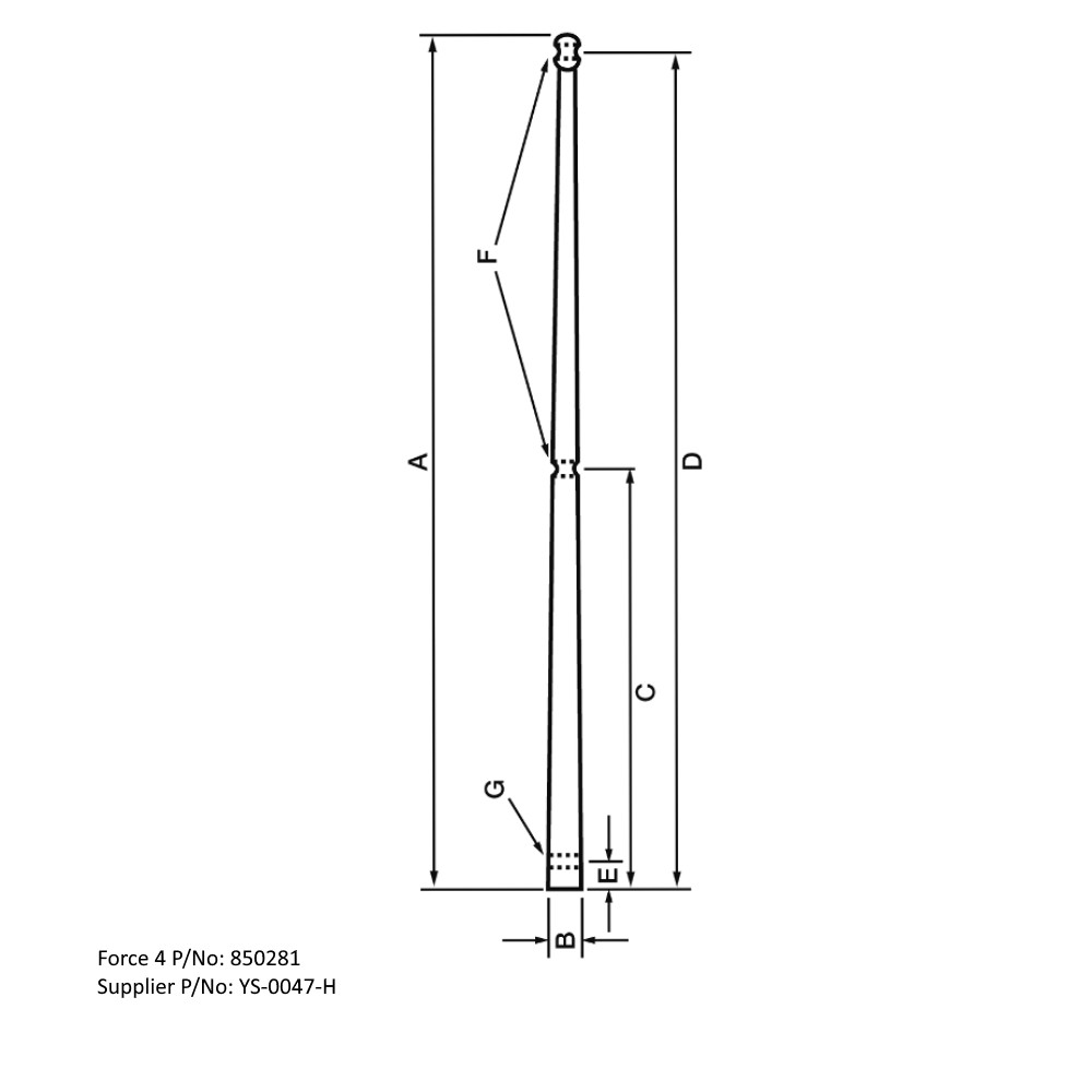 Toe Rail Stanchion (Solid) 610mm
