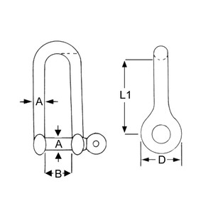1PK 8mm Stainless Steel Long Dee