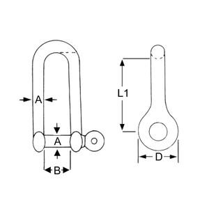1PK 12mm Stainless Steel Long Dee