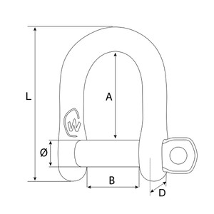 Shackle Stainless Steel D M6 Self-Locking Shackle