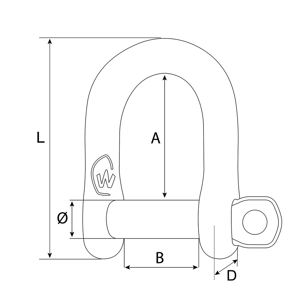D M10 Stainless Steel Self-Locking Shackle