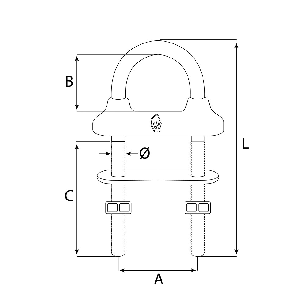 Stainless Steel W/P U-Bolt M12x130mm