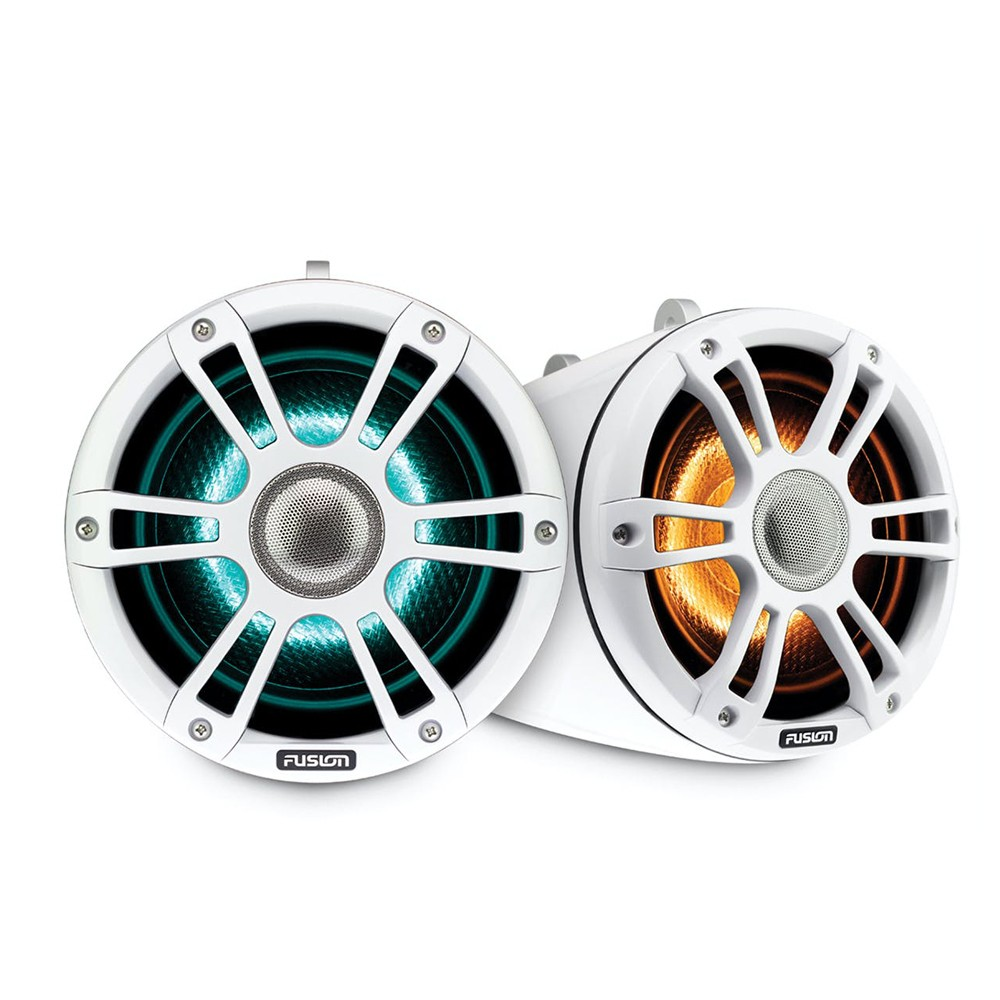Signature Series 3 Sports White Marine Wake Tower Speakers With CRGBW LED Lighting