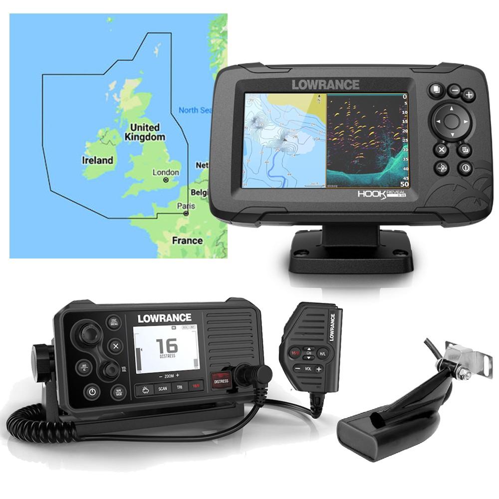 Hook Reveal 5 Chartplotter + Link6 VHF + UK C-Map Chart