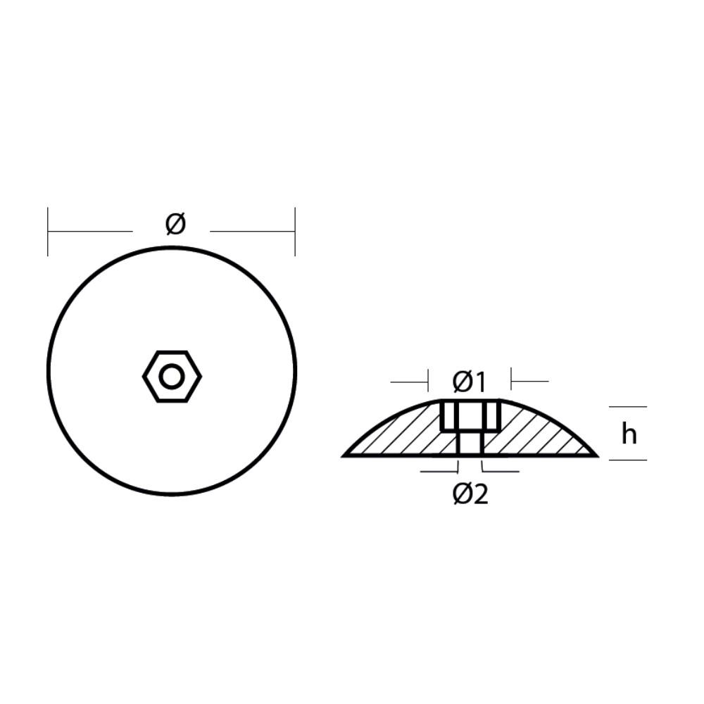 Zinc Disc Anode (pair) for Rudder 47mm