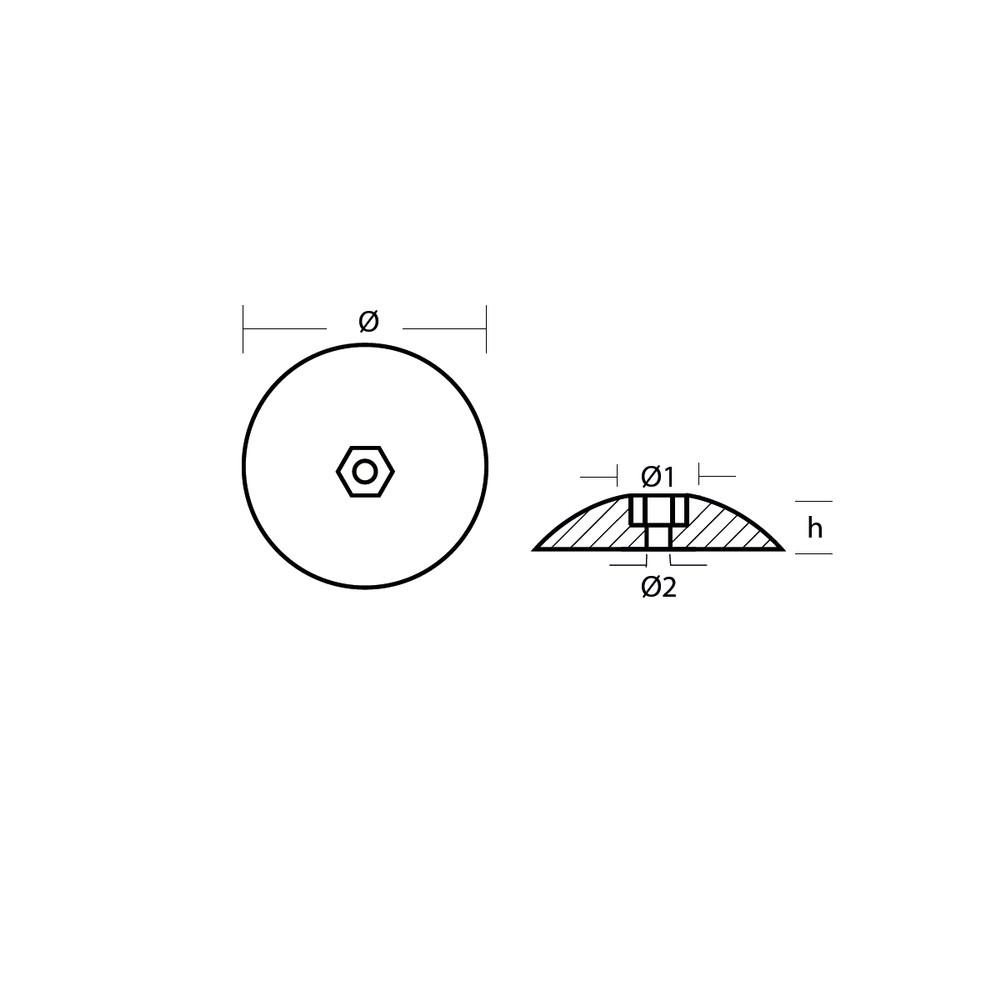 Zinc Disc Anode (pair) for Rudder 72mm