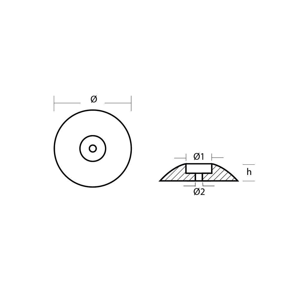 Zinc Disc Anode for Rudder 50mm