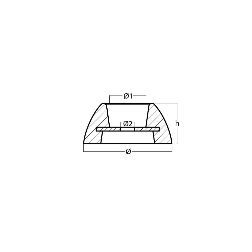 Zinc Disc Anode for Rudder 70mm