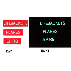 Luminous Lifejacket Flares EPIRB Stickers - 3 Pack